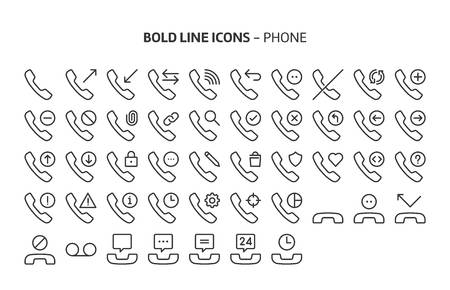 Mobile phones, bold line icons. The illustrations are a vector, editable stroke, 48x48 pixel perfect files. Crafted with precision and eye for quality. Stock Vector - 125198164