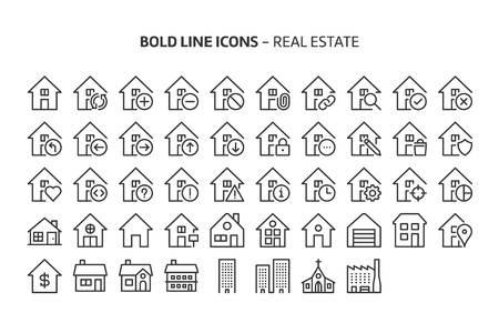 Real estate, bold line icons. The illustrations are a vector, editable stroke, 48x48 pixel perfect files. Crafted with precision and eye for quality.