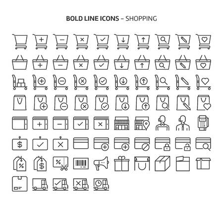 Shopping, bold line icons. The illustrations are a vector, editable stroke, 48x48 pixel perfect files. Crafted with precision and eye for quality.