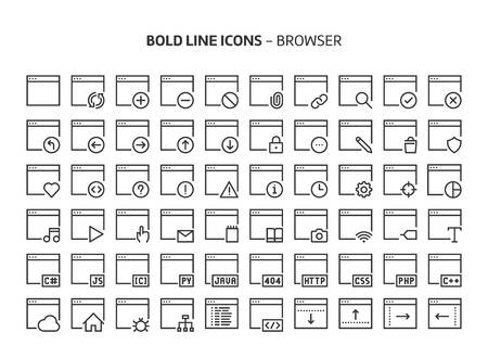 Browser, bold line icons. The illustrations are a vector, editable stroke, 48x48 pixel perfect files. Crafted with precision and eye for quality.