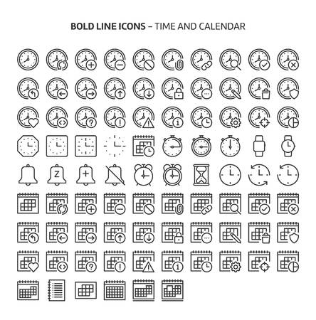Time and Calendar, bold line icons. The illustrations are a vector, editable stroke, 48x48 pixel perfect files. Crafted with precision and eye for quality.