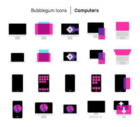 Computers, bubblegum icons. The illustrations are a vector, colorful, 64x64 pixel perfect files. Crafted with precision and eye for quality.