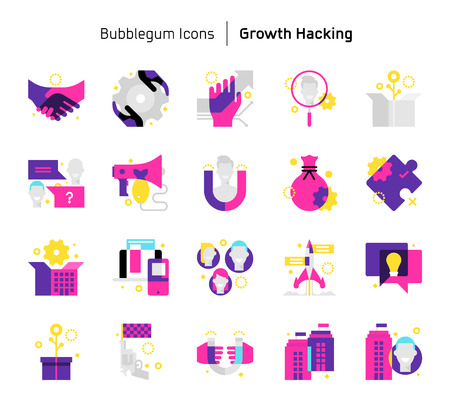 Growth hacking, bubblegum icons. The illustrations are a vector, colorful, 64x64 pixel perfect files. Crafted with precision and eye for quality.