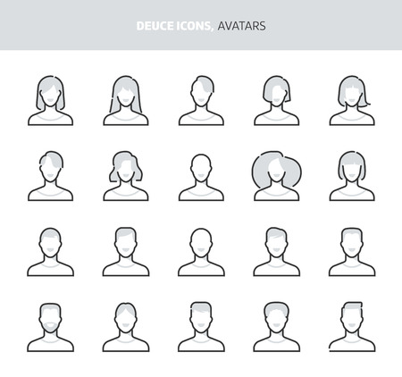 Avatars, deuce icons. The illustrations are a vector, two colors, 64x64 pixel perfect files. Crafted with precision and eye for quality. Иллюстрация