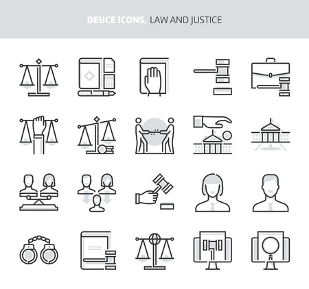Law and Justice, deuce icons. The illustrations are a vector, two colors, 64x64 pixel perfect files. Crafted with precision and eye for quality. Иллюстрация