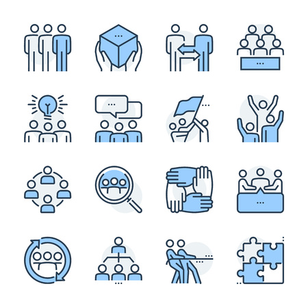 Team management theme icon set. The set is vector, colored and created on 64x64 grids. Иллюстрация