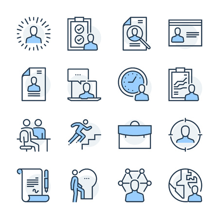 Recruitment theme icon set. The set is vector, colored and created on 64x64 grids.