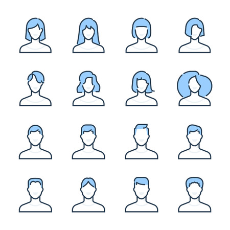 Characters theme icon set. The set is vector, colored and created on 64x64 grids. Illustration