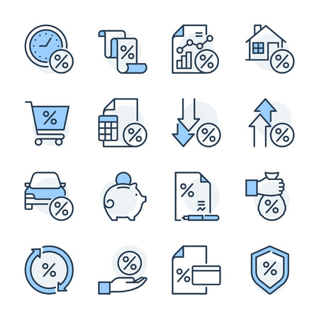 Finance theme icon set. The set is vector, colored and created on 64x64 grids. Illustration