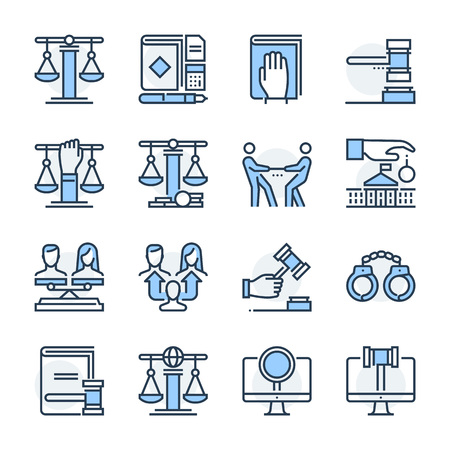 Law theme icon set. The set is vector, colored and created on 64x64 grids. Stock Vector - 123274265