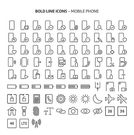 Téléphone portable, icônes de ligne en gras. Les illustrations sont un vecteur, trait modifiable, des fichiers parfaits de 48x48 pixels. Fabriqué avec précision et souci de la qualité.