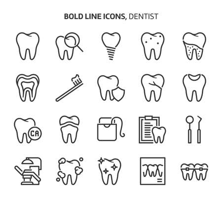 Dentist, bold line icons. The illustrations are a vector, editable stroke, 48x48 pixel perfect files. Crafted with precision and eye for quality. Ilustração
