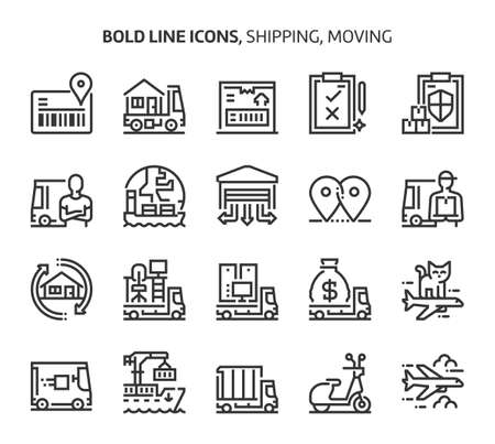 Shipping and moving, bold line icons. The illustrations are a vector, editable stroke, 48x48 pixel perfect files. Crafted with precision and eye for quality.