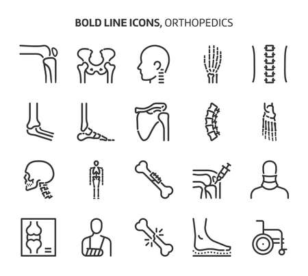 Orthopedics, bold line icons. The illustrations are a vector, editable stroke, 48x48 pixel perfect files. Crafted with precision and eye for quality.