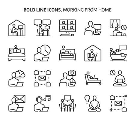 Working from home, bold line icons. The illustrations are a vector, editable stroke, 48x48 pixel perfect files. Crafted with precision and eye for quality.