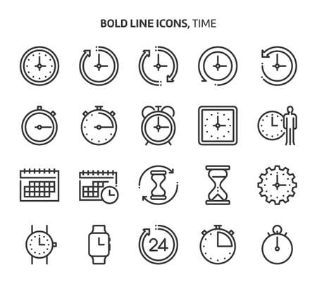 Time, bold line icons. The illustrations are a vector, editable stroke, 48x48 pixel perfect files. Crafted with precision and eye for quality.
