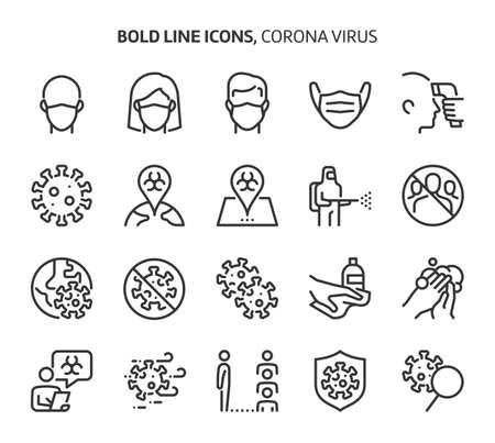 Corona virus, bold line icons. The illustrations are a vector, editable stroke, 48x48 pixel perfect files. Crafted with precision and eye for quality.