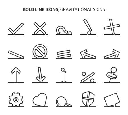 Gravitational signs, bold line icons. The illustrations are a vector, editable stroke, 48x48 pixel perfect files. Crafted with precision and eye for quality.