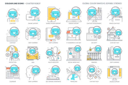 Chatter robot related, color line, vector icon, illustration set. The set is about messenger, virtual assistant, cyborg, computer, chat bot, support, artificial interface, call center. Ilustração