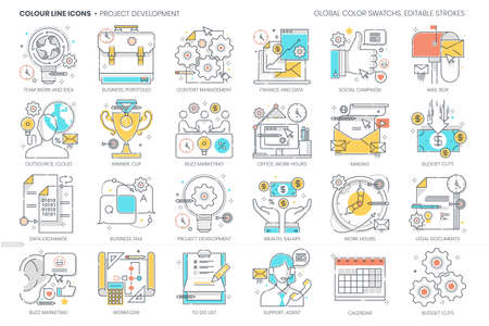 Project development related, color line, vector icon, illustration set. The set is about salary wealth, economic, money, company, start up, business, team work, portfolio, suitcase, outsource.
