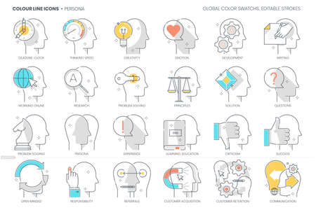 Persona related, color line, vector icon, illustration set. The set is about avatar, face, emotion, personality, new skills, male, female, neutral, man, woman, side profile.