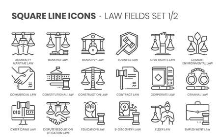 Law fields related, square line vector icon set for applications and website development. The icon set is editable stroke, pixel perfect and 64x64. Crafted with precision and eye for quality.