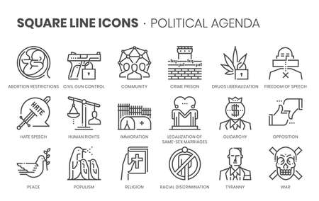 Political agenda related, square line vector icon set for applications and website development. The icon set is pixelperfect with 64x64 grid. Crafted with precision and eye for quality.
