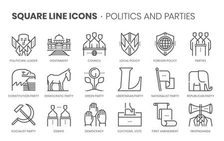Politics and parties related, square line vector icon set for applications and website development. The icon set is pixelperfect with 64x64 grid. Crafted with precision and eye for quality.