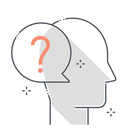 Question mark related color line vector icon, illustration. The icon is about chat bubble, dialogue, answer, ask, avatar, face. The composition is infinitely scalable.