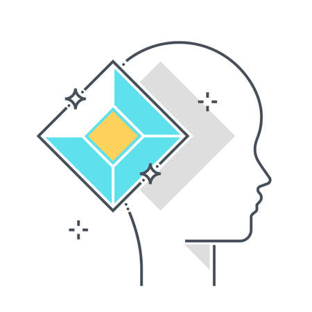 Diamond related color line vector icon, illustration. The icon is about coding, minimal, shine, jewel, avatar, face. The composition is infinitely scalable.