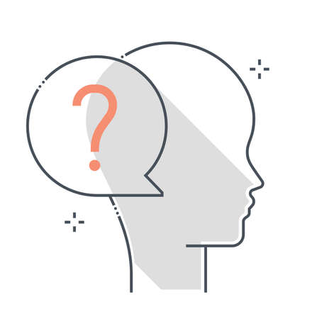 Question mark related color line vector icon, illustration. The icon is about chat bubble, dialogue, answer, ask, avatar, face. The composition is infinitely scalable. Vektorgrafik
