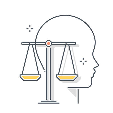 Law related color line vector icon, illustration. The icon is about management, principles, scale, equality, judgement, avatar, face. The composition is infinitely scalable.