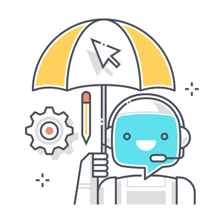 Chat bot related, color line, vector icon, illustration set. The set is about machine learning, artificial Intelligence, commerce, Robotics. The composition is infinitely scalable.