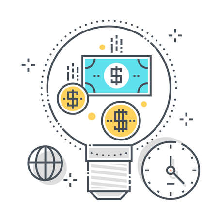 Idea related color line vector icon, illustration. The icon is about money making, business plan, lamp, start up, dolar. The composition is infinitely scalable.