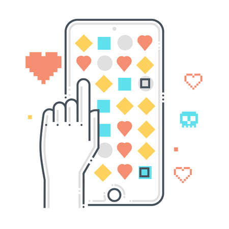 Mobile game related color line vector icon, illustration. The icon is about touch, mobile phone, application, store, points. The composition is infinitely scalable.