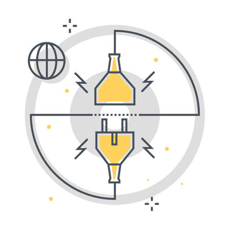 Connection related color line vector icon, illustration. The icon is about cable, socket, router, wire. The composition is infinitely scalable.