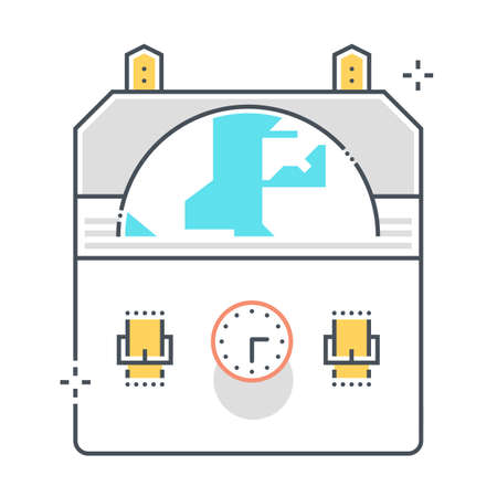 Budget cut related color line vector icon, illustration. The icon is about money box, Piggy bank, banking, accounting, investment, funds. The composition is infinitely scalable.