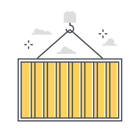 Container related color line vector icon, illustration. The icon is about carry, overseas, carry, box, construction. The composition is infinitely scalable.
