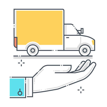 Delivery protection related color line vector icon, illustration. The icon is about assurance, truck, shipment, delivery. The composition is infinitely scalable. Illustration