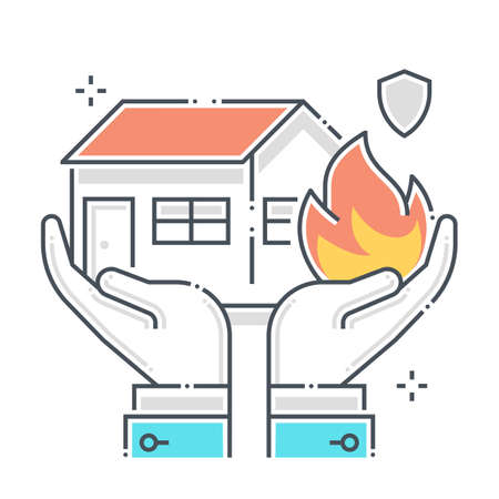 Fire protection related color line vector icon, illustration. The icon is about assurance, house, property, investment, real estate, immovable. The composition is infinitely scalable.