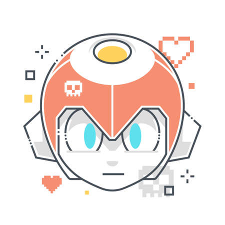 Hero related color line vector icon, illustration. The icon is about robot, kid, sprite, game character. The composition is infinitely scalable. Illustration