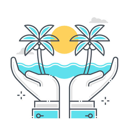 Holiday protection related color line vector icon, illustration. The icon is about assurance, retirement, life, old age, holiday, sea. The composition is infinitely scalable.