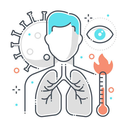Symptoms related color line vector icon, illustration. The icon is about reparatory disease, fever, eyes, human, corona virus, contamination, epidemic, lungs. The composition is infinitely scalable.