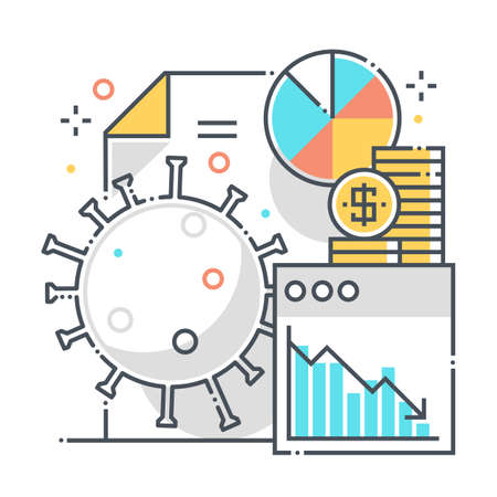 Economy related color line vector icon, illustration. The icon is about statistics, countries, report, percentage, pie chart, corona virus. The composition is infinitely scalable.