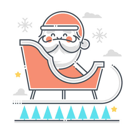 Sleigh related color line vector icon, illustration. The icon is about flying, children, new year, Christmas, bag, santa. The composition is infinitely scalable.