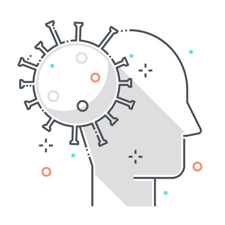 Psychology related color line vector icon, illustration. The icon is about mental health, corona virus, contamination, epidemic. The composition is infinitely scalable.