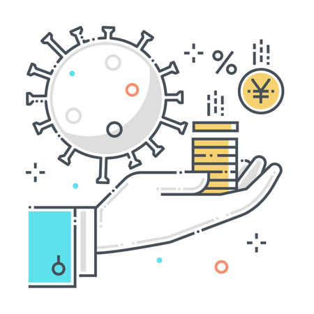 Funding related color line vector icon, illustration. The icon is about help, economy, corona virus, contamination, epidemic, money. The composition is infinitely scalable.