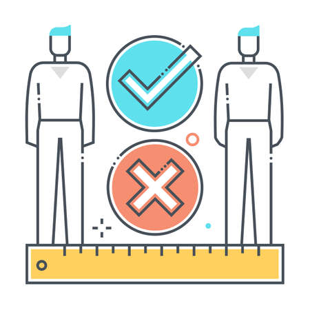 Social distance related color line vector icon, illustration. The icon is about meter, feet, ruler, protection, corona virus, contamination, epidemic. The composition is infinitely scalable. Illustration