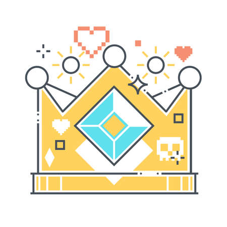 Crown related color line vector icon, illustration. The icon is about king, quality, kingdom, leader, trophy, game. The composition is infinitely scalable.