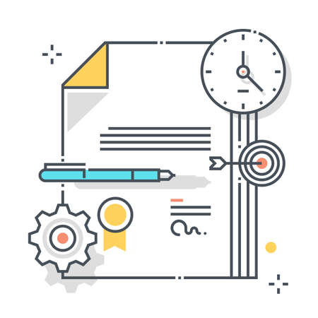 Legal documents related color line vector icon, illustration. The icon is about contract, policy, assurance, start a claim, documents, agreement, submission. The composition is infinitely scalable.